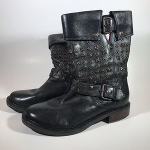 UGG Conor Black Leather Studded Moto Boot